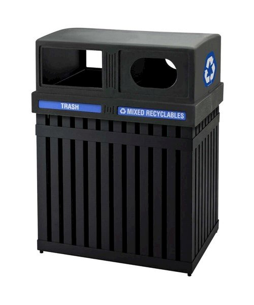 50 Gallon Arch Tec Commercial Rectangular Steel Trash Receptacle With Double-Sided Lid