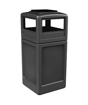 42 Gallon Poly Tec Commercial Square Plastic Trash Receptacle With Ashtray Lid