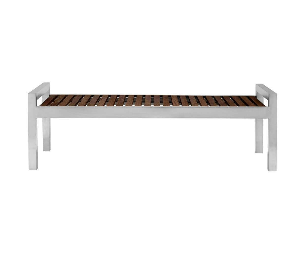 5 Ft.Skyline Stainless Wood Backless Bench with Stainless Steel ...