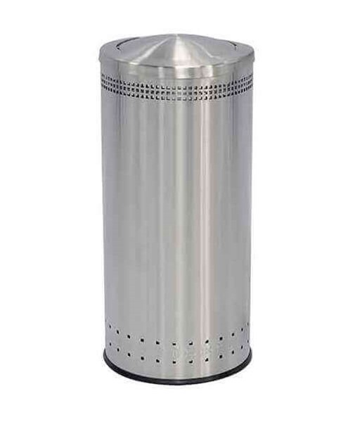 25 Gallon Precision Commercial Imprinted Stainless Steel Round Trash Receptacle With Swivel Lid
