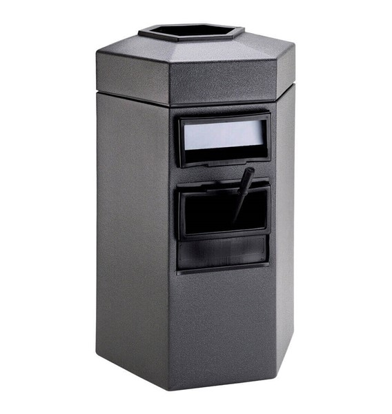 45 Gallon Island Service Center - Polyethylene Plastic Hexagonal Receptacle With 2 Gallon Bucket And Towel Dispenser