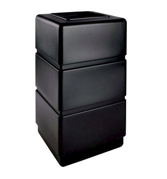 38 Gallon Poly Tec Commercial Three Tier Square Plastic Trash Receptacle