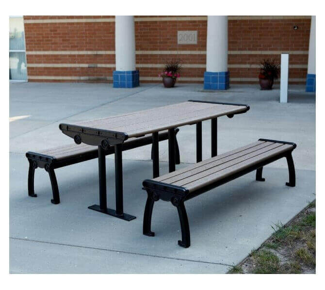 Park Ave Recycled Plastic Picnic Table With Cast Aluminum Frame - Cast aluminum picnic table