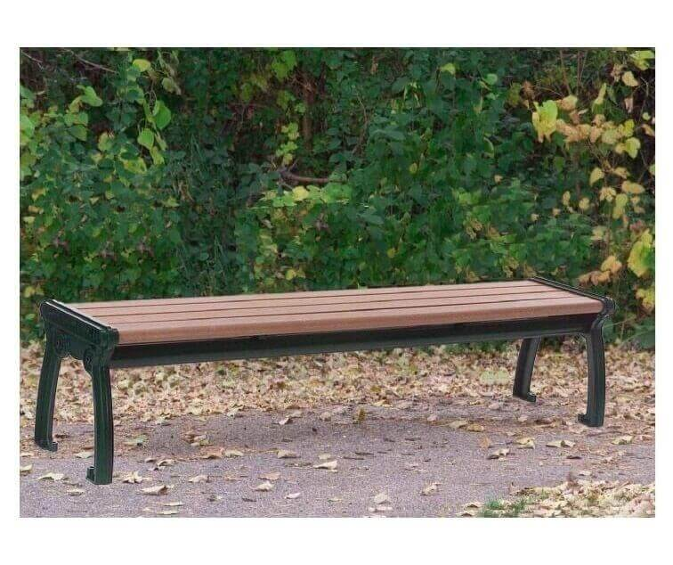 Park Ave Recycled Plastic Backless Bench With Cast