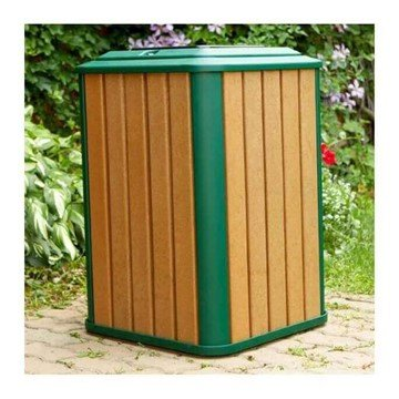 32 Gallon Recycled Plastic Square Receptacle With Steel Frame