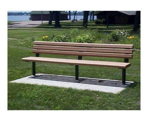 Park Scapes Recycled Plastic Bench With Armless Steel Frame