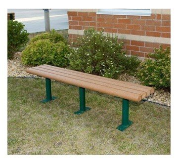 Park Scapes Recycled Plastic Flat Backless Bench With Steel Frame