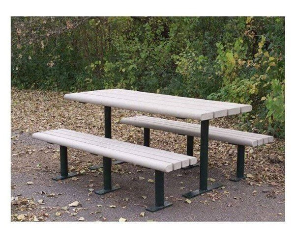8 Ft. Park Scapes Recycled Plastic Picnic Table With Steel Frame