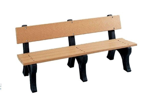"6 Foot Millennium Style Recycled Plastic Bench With Back, 2"" x 10"" Slats, 6 or 8 Ft."
