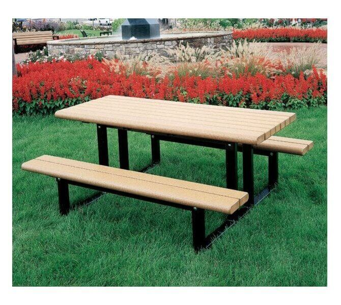 6 ft. mission park recycled plastic picnic table with steel frame
