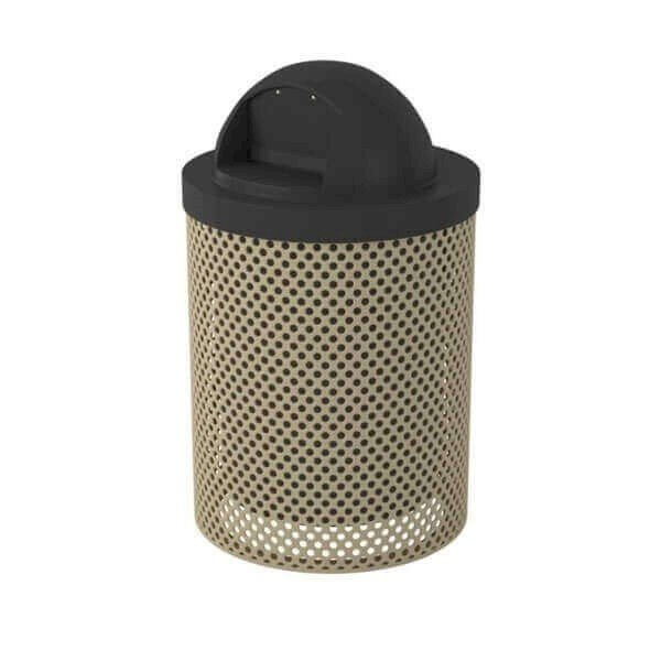 Perforated 32 Gallon Trash Receptacle With Dome Top And Liner
