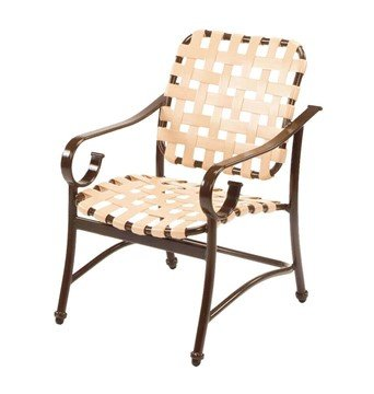 Barbados Cross Weave Vinyl Strap Dining Arm Chair