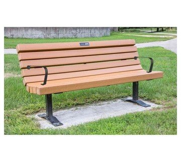 6 Ft. Recycled Plastic Slatted Park Bench With Arms And Steel Frame