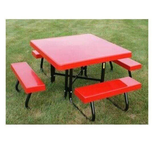 "48"" Square Fiberglass Picnic Table With Galvanized Pedestal Frame"