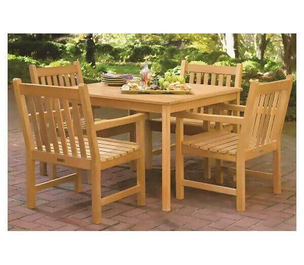 "Shorea Wooden Dining Set - 4 Shorea Chairs and 42"" Table"