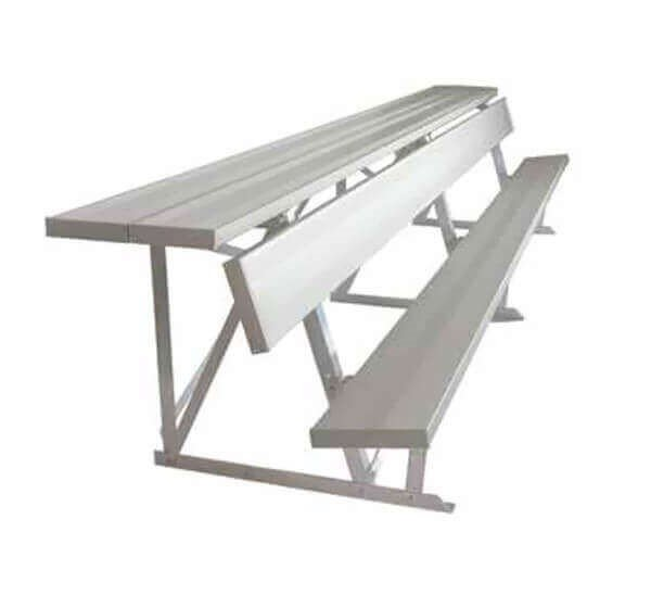 Portable Aluminum Double Shelf-Back Players Bench