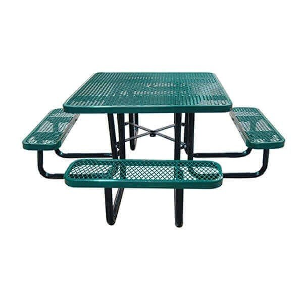 """46"""" Square Expanded Metal Style Thermoplastic Picnic Table"""