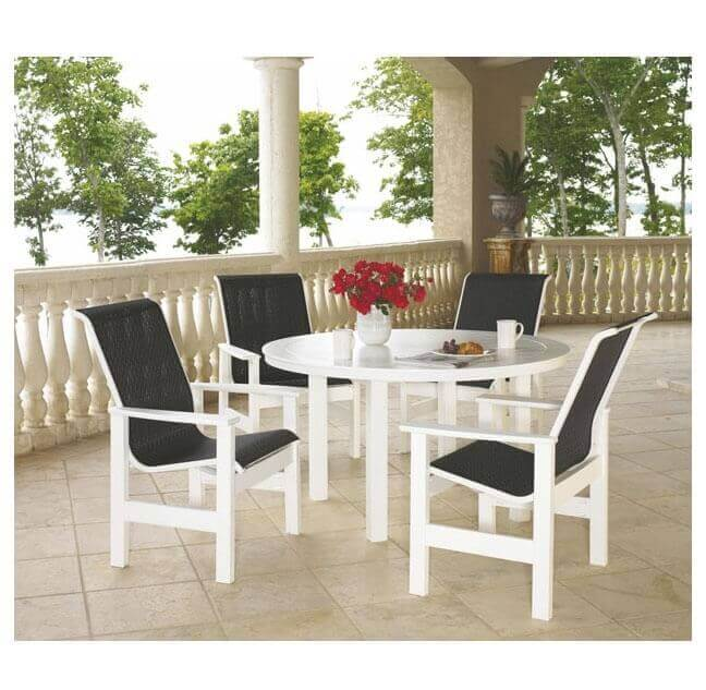 Telescope Leeward Sling Dining Set With Marine Grade