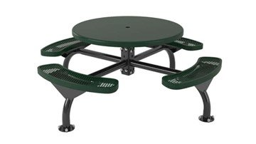 "Round Picnic Table with a Solid 46"" Top with Attached Bench Seats- Web Style, 255 lbs."