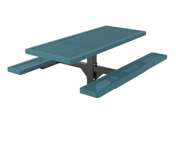 6 Ft. Innovated Style Plastic Coated Steel Rectangular Picnic Table With Pedestal Inground Mount