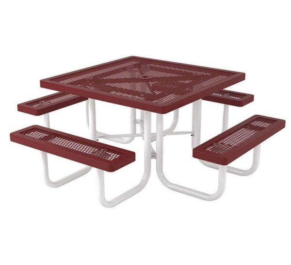 "46"" Square Plastic Coated Expanded Steel Picnic Tables"
