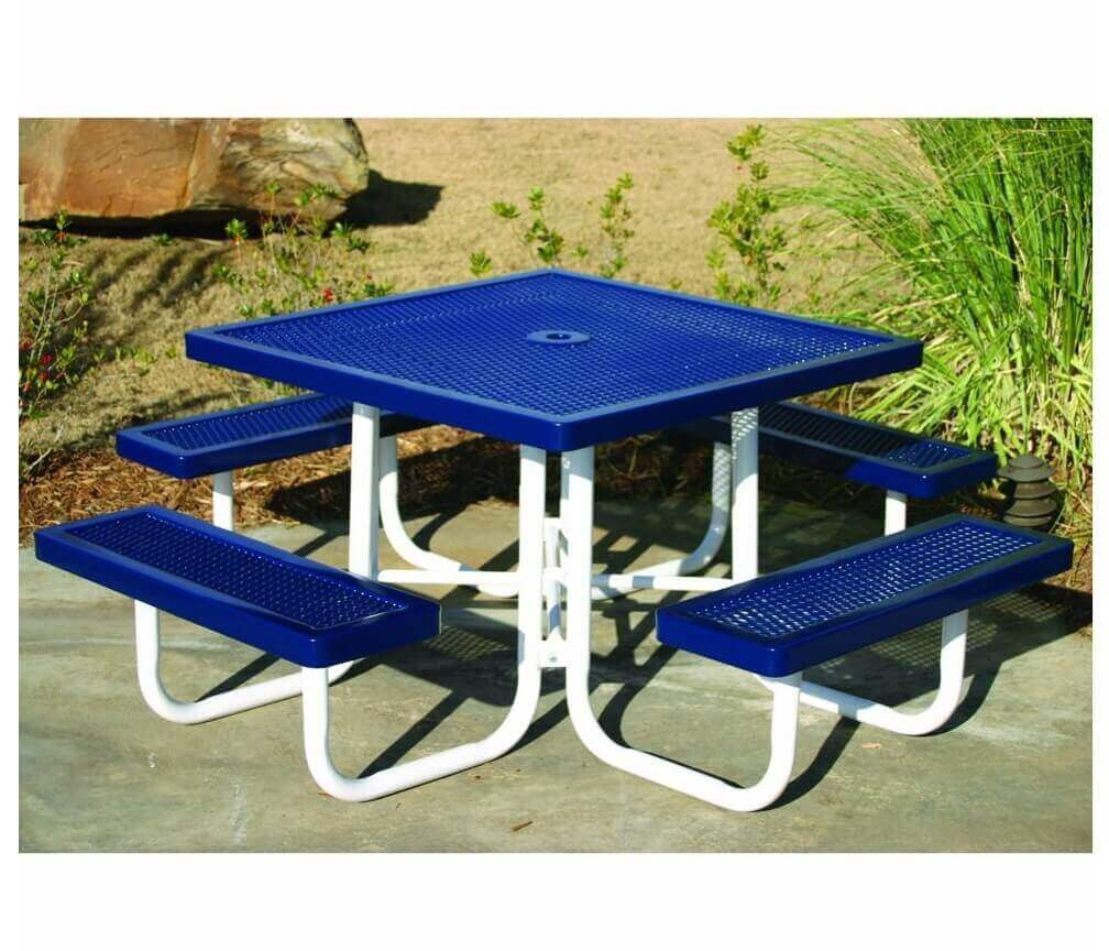 46 Quot Square Plastic Coated Expanded Steel Picnic Table