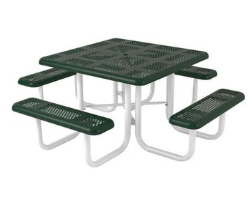 "46"" Square Perforated Style Plastic Coated Steel Picnic Table"