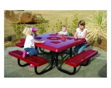 "46"" Heavy-Duty Square Thermoplastic Coated Picnic Table"