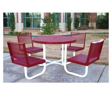 """42"""" Round Polyethylene Coated Expanded Metal Picnic Table"""