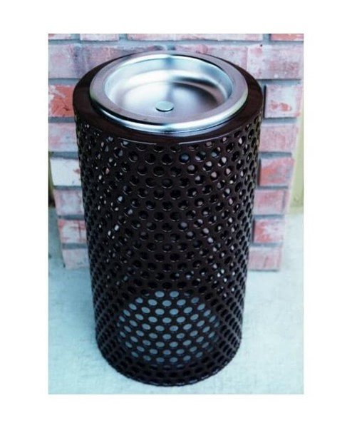 "11"" Round Plastic Coated Perforated Steel Ash Urn"