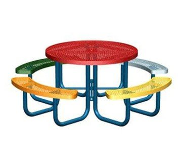 "46"" Round Polyethylene Coated Steel Multicolor Picnic Table"