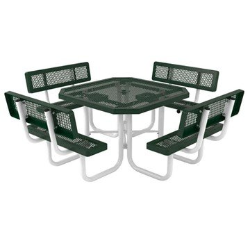 "Commercial Thermoplastic Octagonal 46"" Picnic Table with back, Plastic Coated Expanded Metal. Seats 8 Adults. 306 lbs."