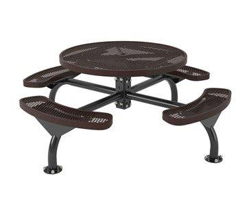 "46"" Round Classic Web Style Polyethylene Plastic Coated Steel Picnic Table"