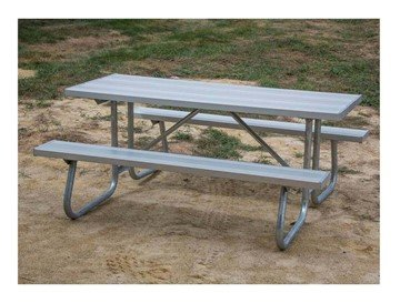 "6 Ft. Aluminum Picnic Table With Galvanized 1-5/8"" Bolted Frame"