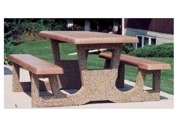 Rectangular Concrete Picnic Table With 2 Attached Seats