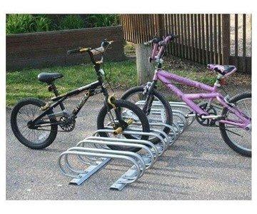6 Space Low Profile Bike Rack, Galvanized Steel