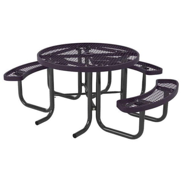 "46"" Round Expanded Polyethylene Coated Metal Picnic Table With 3 Attached Seats"