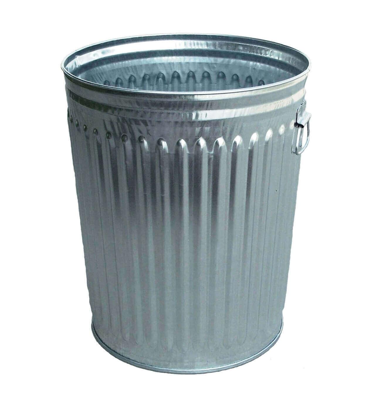 24 Gallon 23 Gauge Galvanized Steel Trash Can W Flat Top