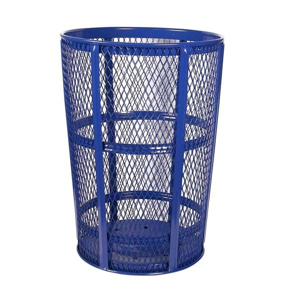 48 Gallon Expanded Metal Basket Style Trash Receptacle - Powder Coated Steel