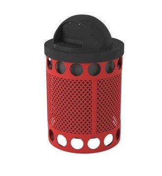 Avenue Perforated 32 Gallon Metal Waste Receptacle & Liner W/ Dome Lid