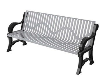 Classic Style Polyethylene Coated Steel Bench With Back