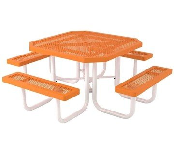 "Octagonal 46"" Textured Polyethylene Coated Orange Expanded Metal Picnic Table - Regal Style"