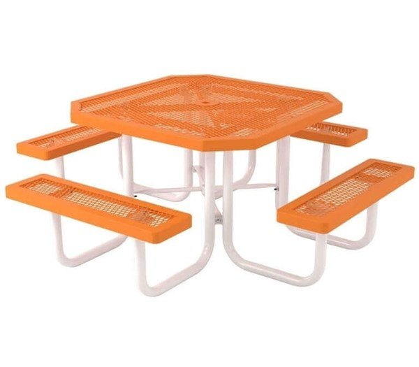 """Octagonal 46"""" Textured Polyethylene Coated Orange Expanded Metal Picnic Table - Regal Style"""