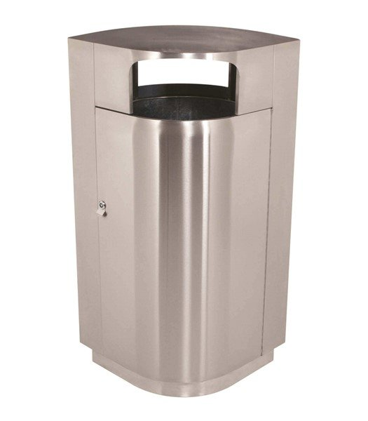 40 Gallon Leafview Commercial Stainless Steel Trash Receptacle