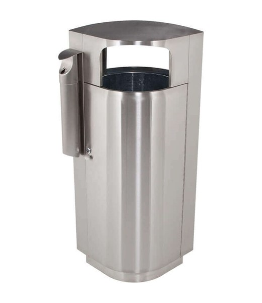 20 Gallon Leafview Commercial Stainless Steel Trash Receptacle With Attached Cigarette Snuffer