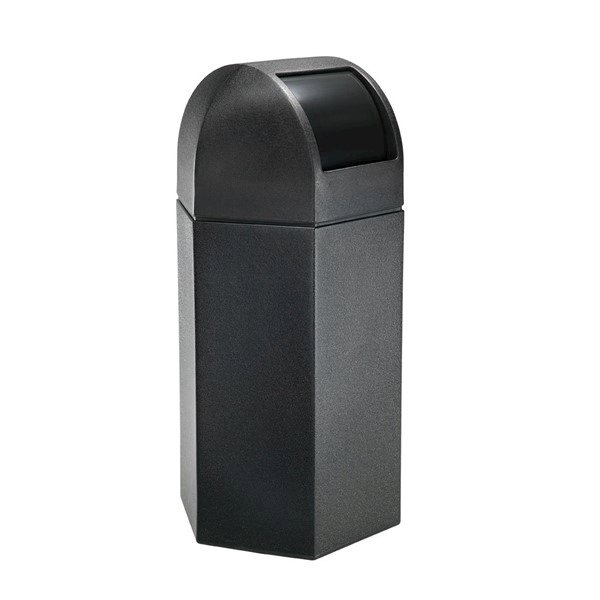 50 Gallon Commercial Plastic Hexagonal Trash Receptacle with Dome Lid - 29 lbs.