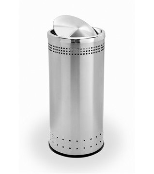 15 Gallon Precision Stainless Steel Round Trash Receptacle With Swivel Lid