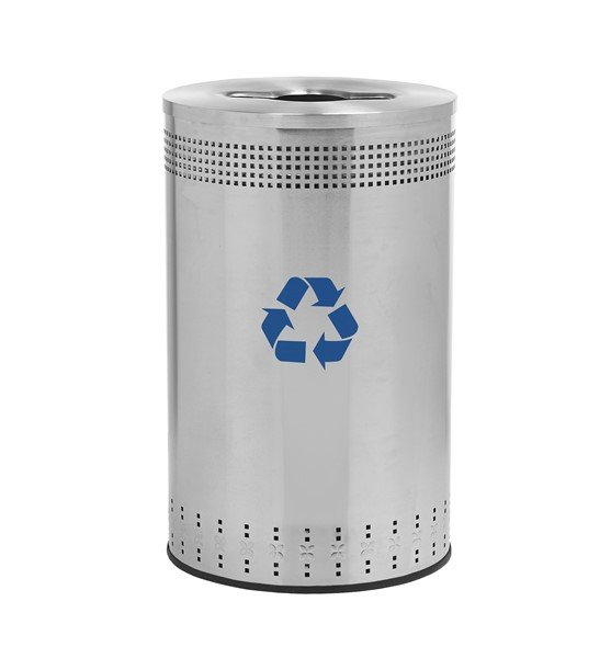 45 Gallon Precision Steel Round Recycling Receptacle With Recycler Top