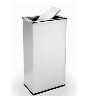 13.5 Gallon Precision Stainless Steel Rectangular Trash Receptacle With Swivel Lid