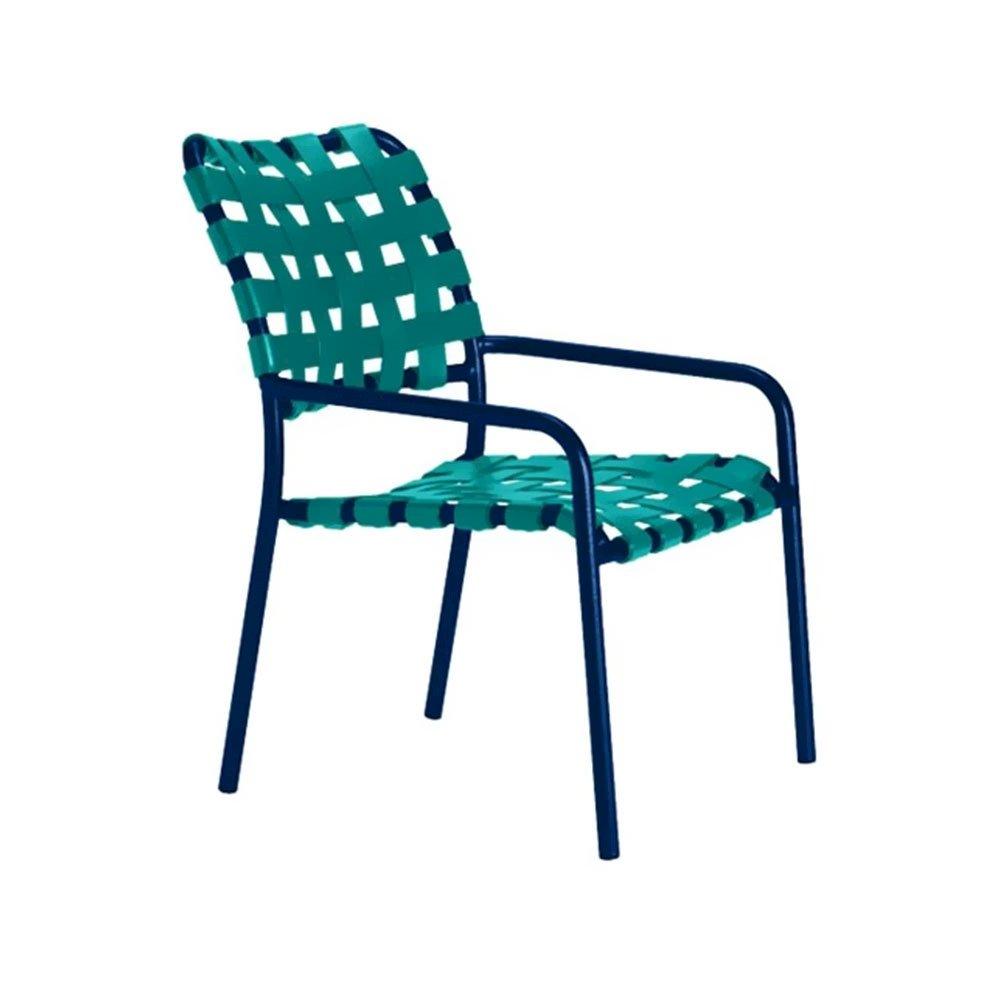 Kahana Crossweave Vinyl Strap Dining Chair With Aluminum